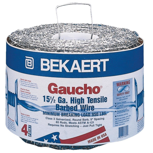 Bekaert 118293 Gaucho High Tensile Barbed Wire 15.5 Ga 4 Point