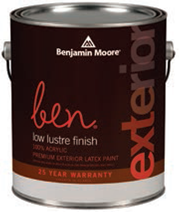 BENJAMIN MOORE EXTERIOR PAINT -LOW LUSTRE (CALL FOR PRICE)