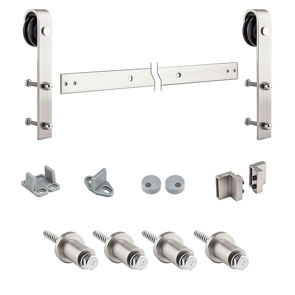 Satin Nickel 72 inch Interior Sliding Door Hardware