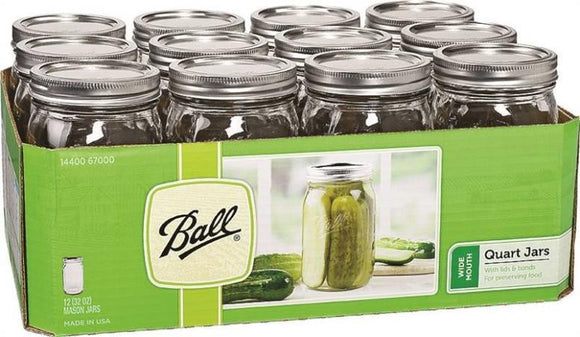 BALL MASON CANNING JAR 1 QT. WIDE MOUTH
