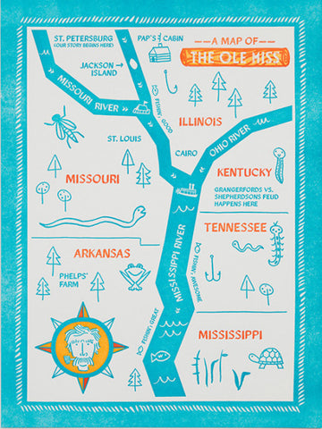 "Alison Oliver ""Map of the Ole Miss"" Art Print Limited Edition"