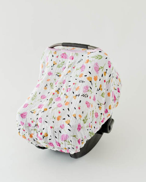 Little Unicorn  Cotton Muslin Car Seat Canopy - Berry & Blossom
