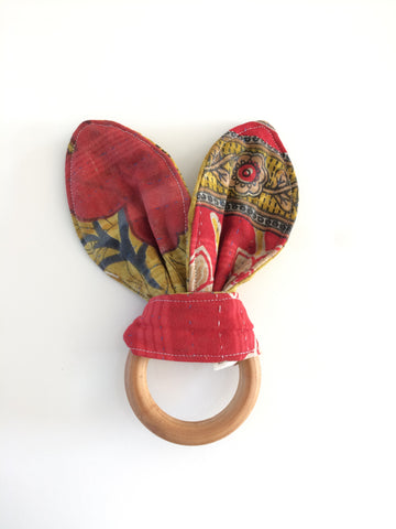 Kantha Bunny Ear Teething Ring