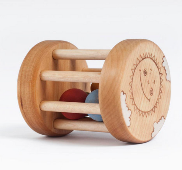 Wooden Sun + Moon Rattle