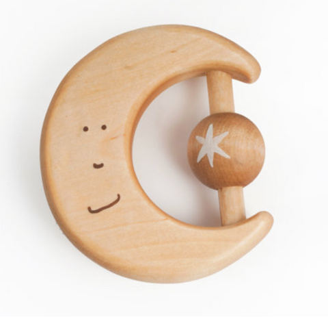 Wooden Moon Teether + Rattle
