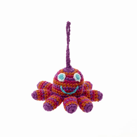 Pebble Octopus Ornament - Red