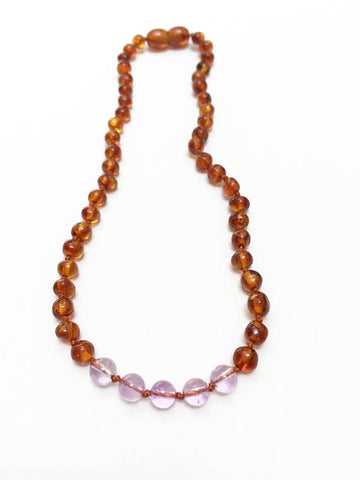 "Canyon Leaf Amber Necklace 12"" (Cognac + Amethyst)"