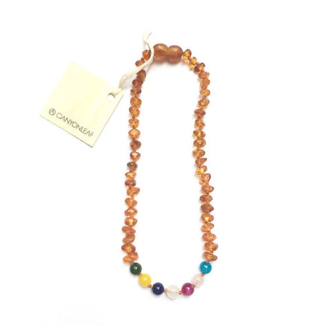 Canyon Leaf Amber Necklace + Rainbow Mixed Stones 12""