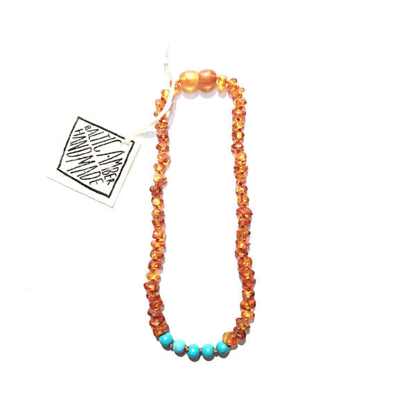 Canyon Leaf Amber Necklace + Turquoise 12""