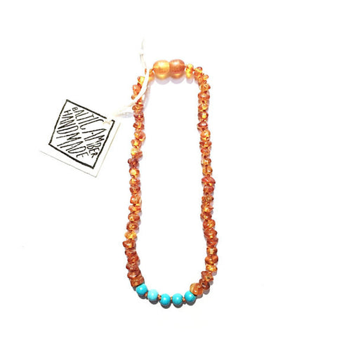 "Canyon Leaf Amber Necklace 12"" (Turquoise)"