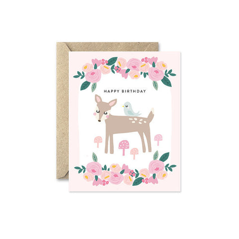 "August and Oak ""Forest Friends"" Pink Card"