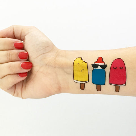 Love + Lion Popsicle Tattoo Set