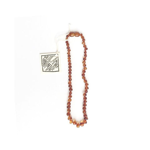 "Canyon Leaf Amber Necklace 12"" (Cognac)"