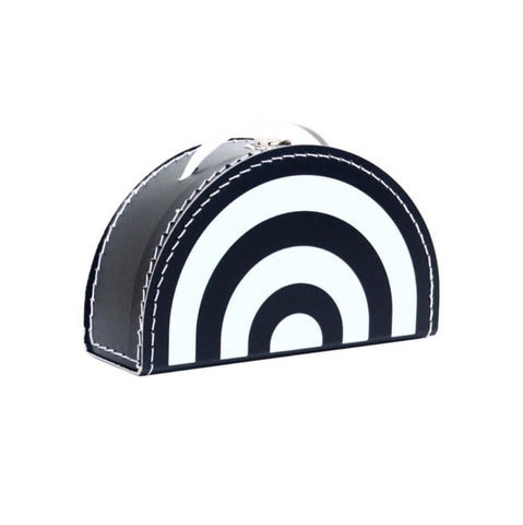 Black and white rainbow suitcase