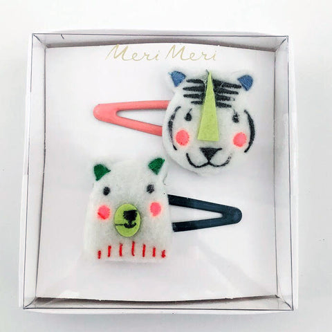 Bear & Tiger Felt Hair Clips