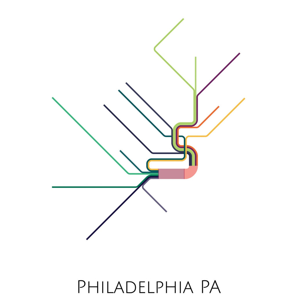 Philadelphia Metro Map, Transit Map, Philadelphia Art, Philadelphia Map Art, Subway Map, Subway Poster Art, Philadelphia Subway