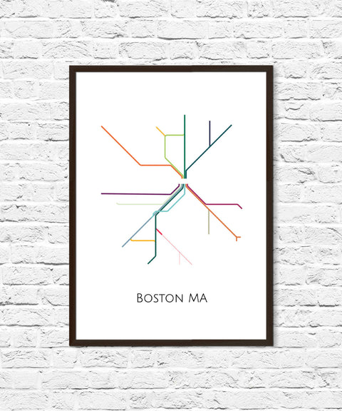 Boston, Boston Subway, Subway Art, Boston Metro Map, Boston Map, Boston Art, Boston Poster, Transit Map, Subway Map, Subway Poster Art