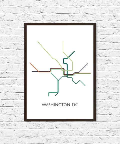 Washington DC Metro Map, Transit Map, Subway Map, Subway Poster Art, Washington DC Art, Washington DC Poster,Washington Metro
