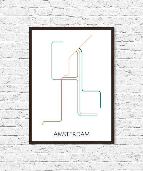 Amsterdam Metro Map, Amsterdam Art, Transit Map, Subway Map, Subway Poster Art