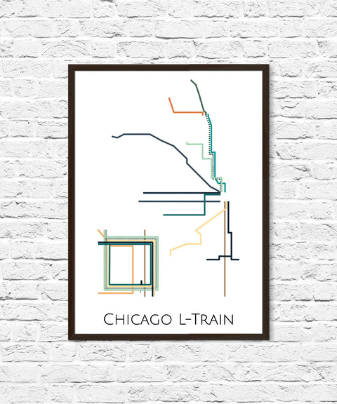 Chicago L-Train Metro Map, Transit Map, Subway Map, Subway Poster Art, Chicago Art, Chicago Poster, Chicago Metro