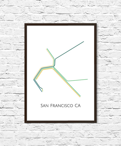 San Francisco Metro Map, Bay Area Transit Map, Subway Map, Subway Poster Art, San Francisco Art