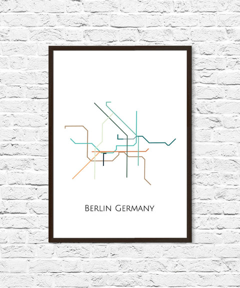Berlin Metro Map, Transit Map, Subway Map, Subway Poster Art, Berlin Art, Berlin Poster, Berlin Print