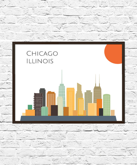 Chicago Cityscape Skyline Poster Print, Chicago Art, Skyline, Cityscape, Chicago Print, City Print, City Poster, Chicago Skyline, Abstract