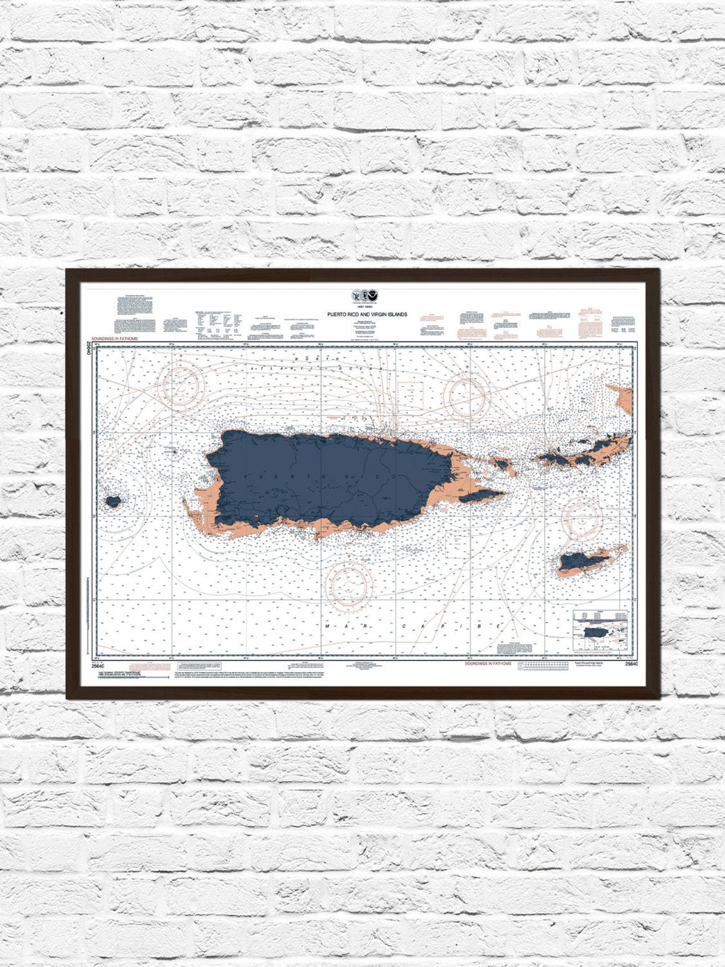 Puerto Rico Nautical Chart Map Art Poster Print, Puerto Rico Map, Puerto Rico Poster, Puerto Rico Print, Nautical Chart, Boating, Sailing