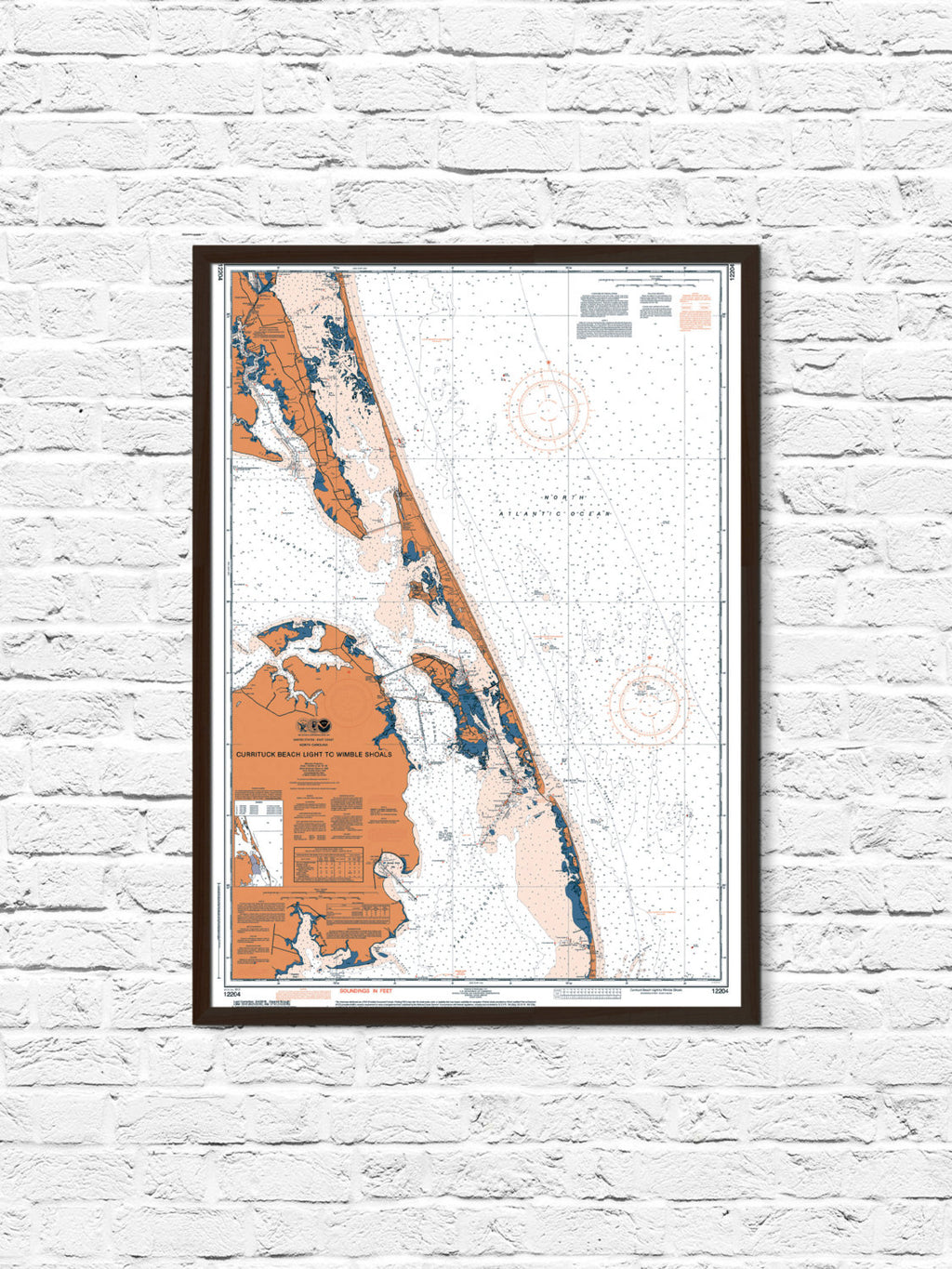 NC Coastal Nautical Chart Map Art Print, Currituck NC, Currituck Map Print, Coastal Print, Beach Cottage Decor, Office Decor, NC Map Art