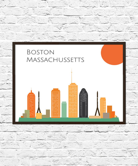 Boston Cityscape Skyline Poster Print, Boston Art, Skyline, Cityscape, Boston Print, Abstract City Print, City Poster, Boston Skyline