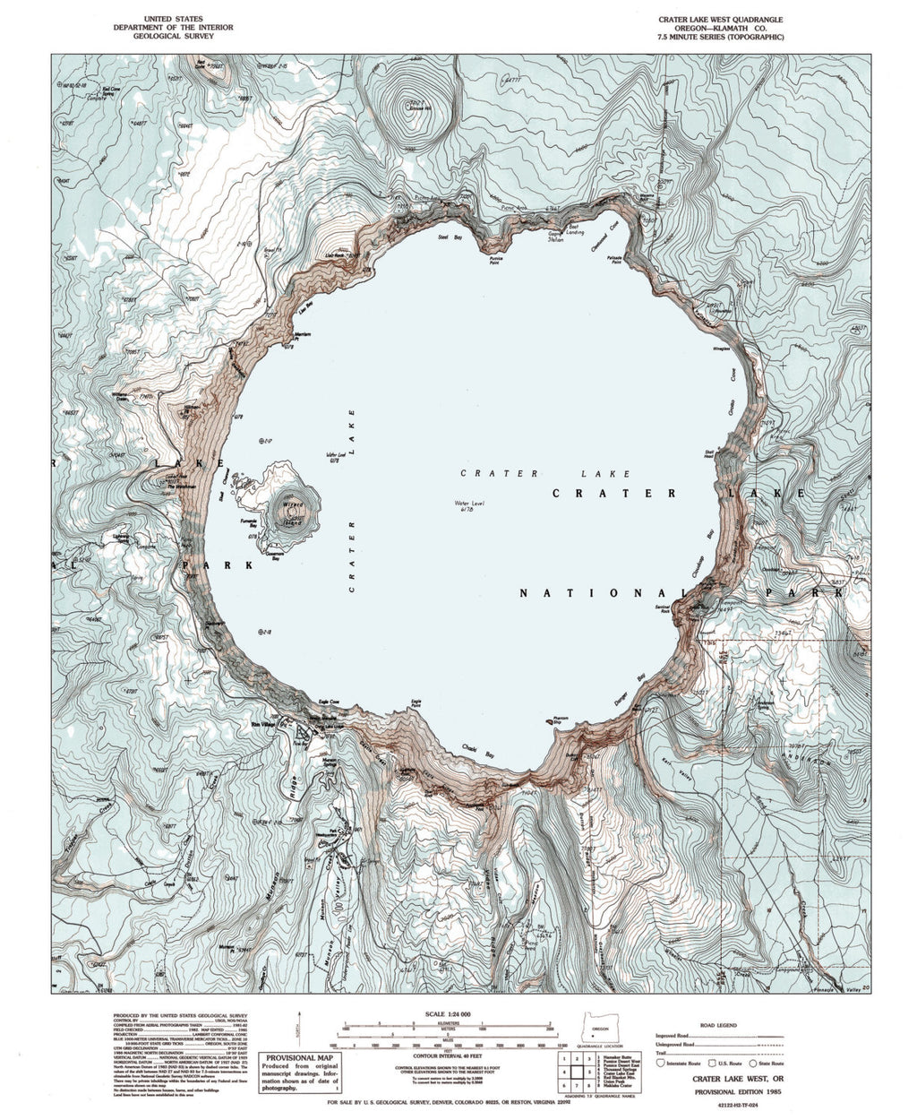 Crater Lake Topographic Map.Crater Lake Or Vintage Map Art Parmar Media