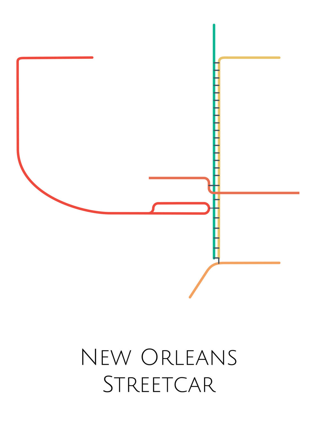 New Orleans Streetcar Map Poster Parmar Media