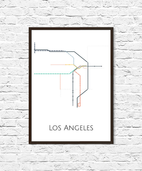 Los Angeles Metro, LA Metro, LA Subway, Transit Map, Subway Map, Metro Map, Los Angeles Art, Los Angeles California, Metro, Map Print