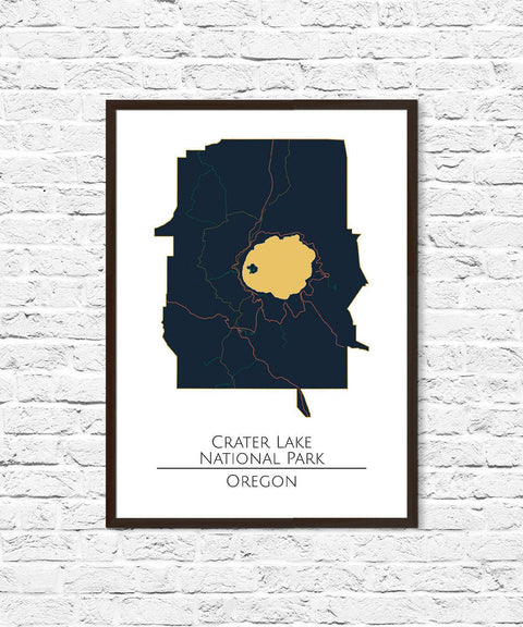 Crater Lake National Park, National Park Print, National Parks Poster, Map Art, Home Office Decor, Minimalist Art, Gift