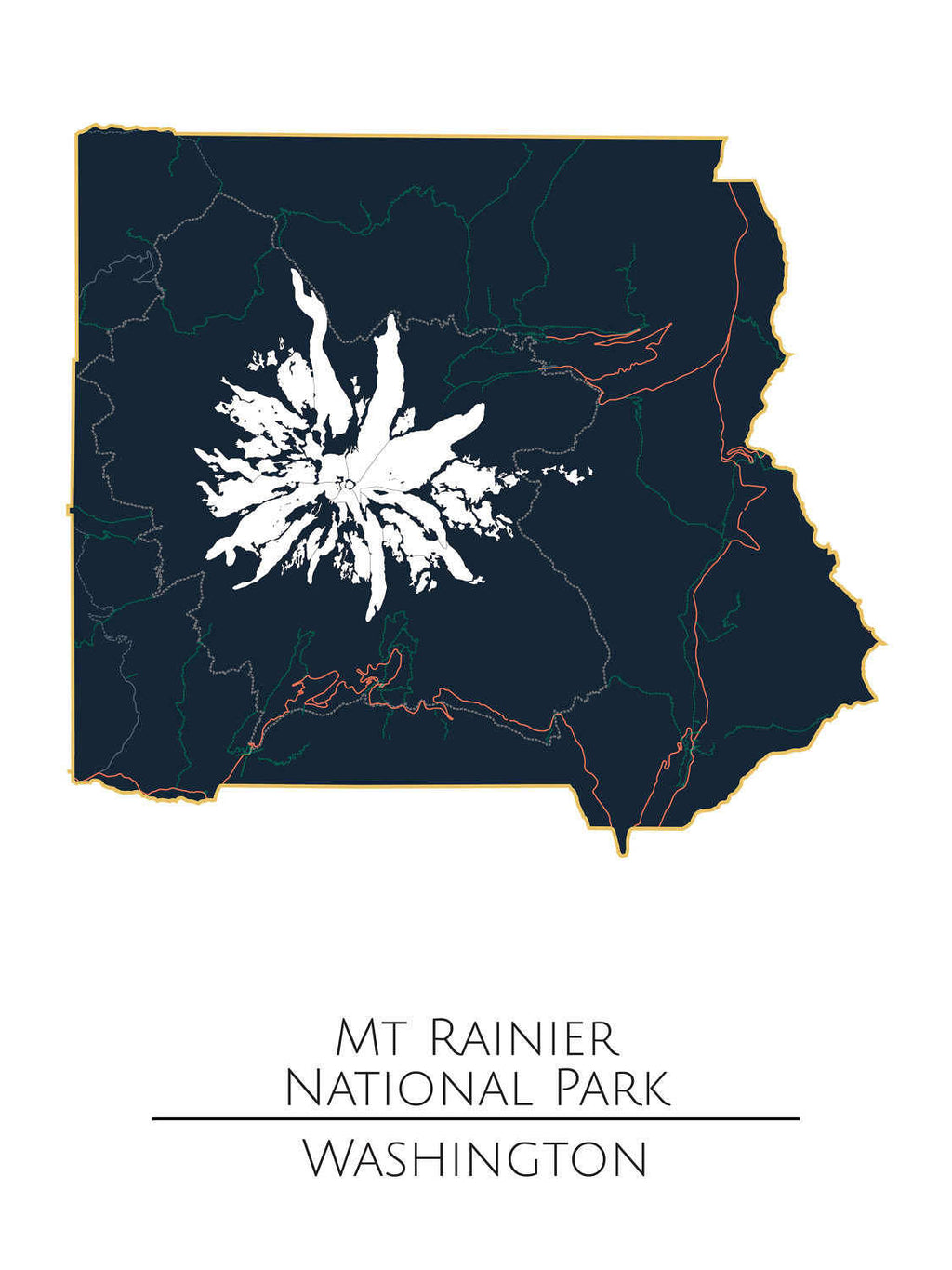 Mt Rainier National Park, National Park Poster, Minimalist Art, National Park Map, National Parks, Mt Rainy, Map Art, National Park Print - ParMar Media