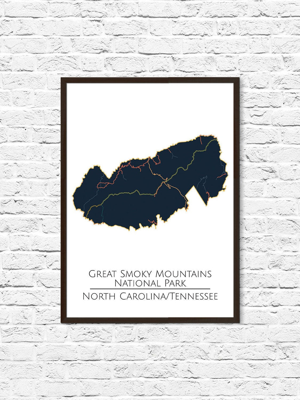 Smoky Mountains National Park, National Park Map, National Parks Poster, National Park Print, Minimalist Art, Home Office Decor - ParMar Media