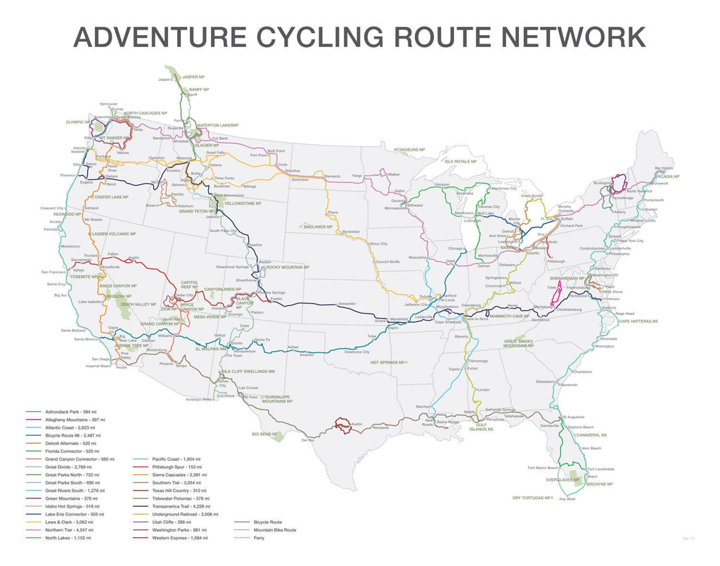 Adventure Cycling Route Network Poster - ParMar Media