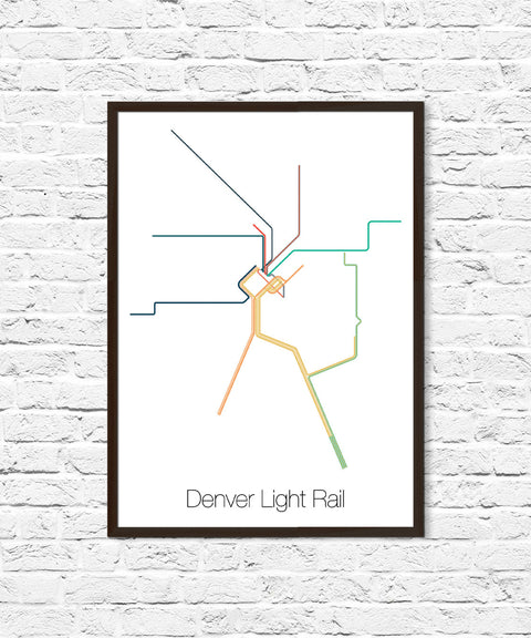 Denver Light Rail Map, Denver Art, Denver Colorado, Denver Map, Map Art, Minimalist Art, Denver Poster, Metro Map