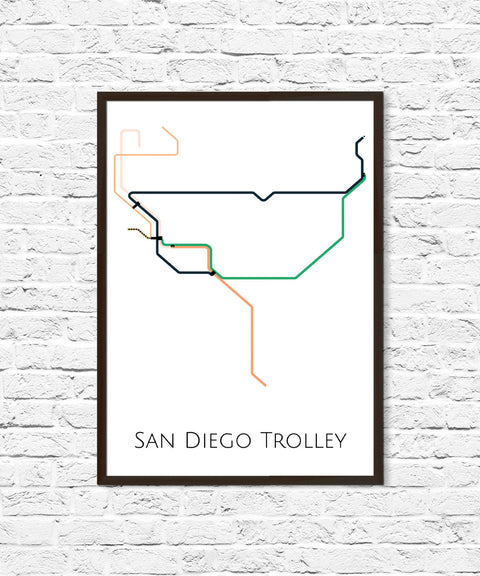 San Diego Trolley Map, San Diego Trolley, San Diego Map Art, San Diego Poster