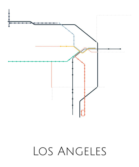 Los Angeles Metro Map Print - ParMar Media