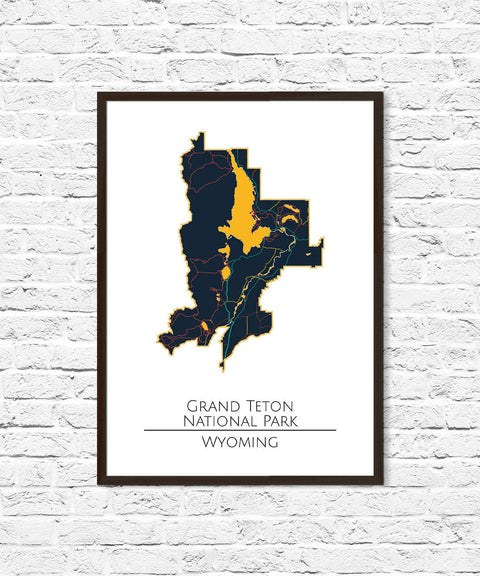Grand Teton National Park Poster Print, Tetons, Grand Teton, Minimalist Art, National Park Poster, National Parks Map Travel Map, Explorer