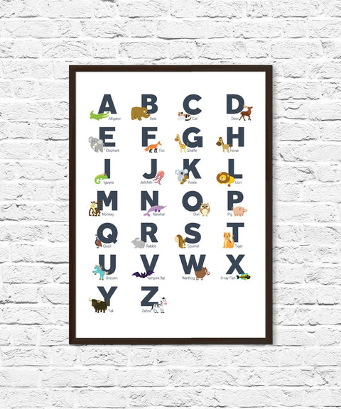 ABC, Alphabet, Baby Shower, Gender Neutral, Nursery Poster, Nursery Art, Newborn Gift, Nursery Wall, Kids Room Decor, Animal Alphabet Print