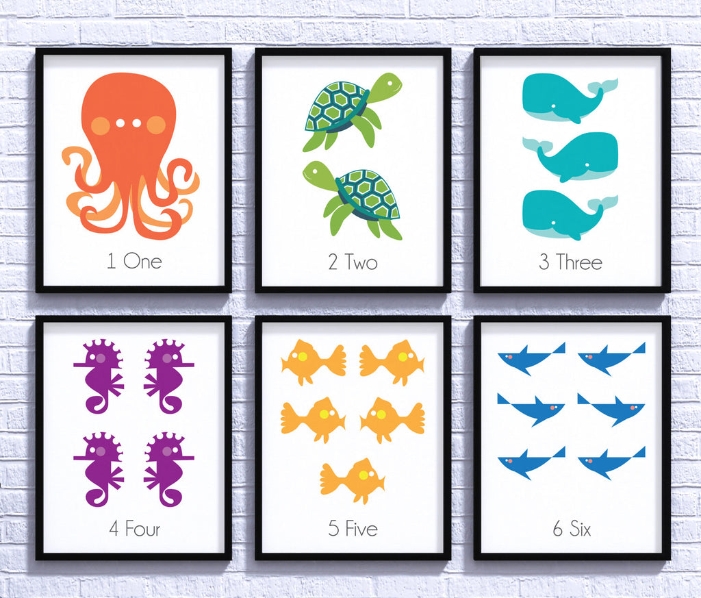 Sea Creatures Nursery Decor, Sea Life, Baby Shower, Nursery Art, Gender Neutral, Nursery Poster, Newborn Gift, Nursery Wall, Kids Room Decor