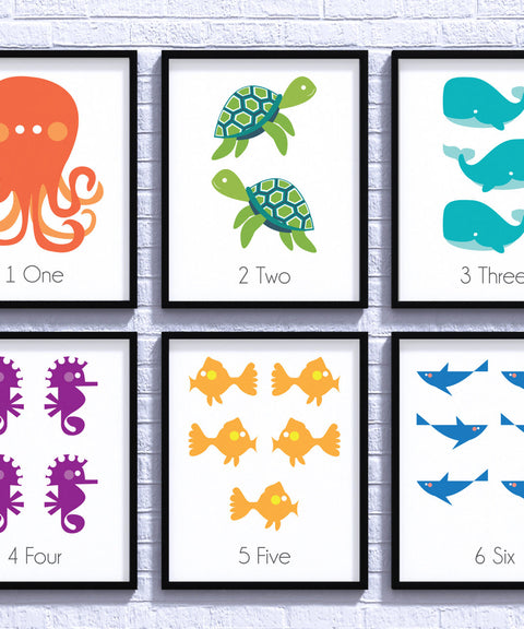 Sea Creatures Nursery Decor, Sea Life, Baby Shower, Nursery Art, Gender Neutral, Nursery Poster, Newborn Gift, Nursery Wall, Kids Room Decor - ParMar Media
