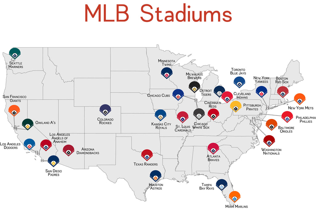 Baseball Stadiums Map MLB Stadium Map Poster | ParMar Media Baseball Stadiums Map