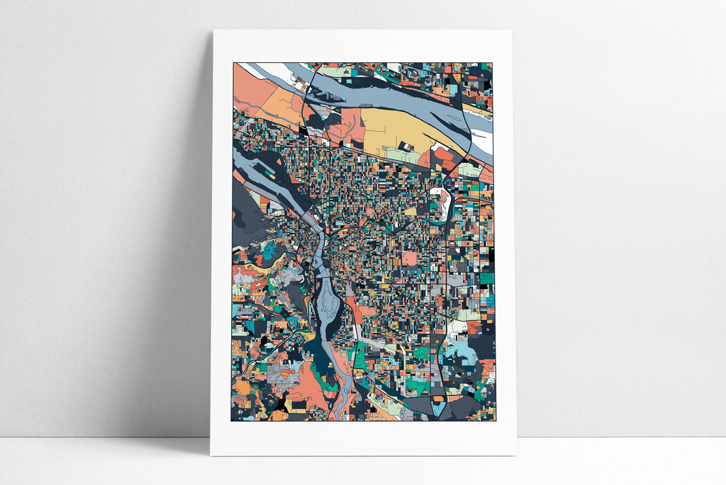 Portland Map, Portland Oregon Print, Portland City Map, Abstract Art, Portland Map Poster, Portland Map Print, Oregon, Wall Art Decor
