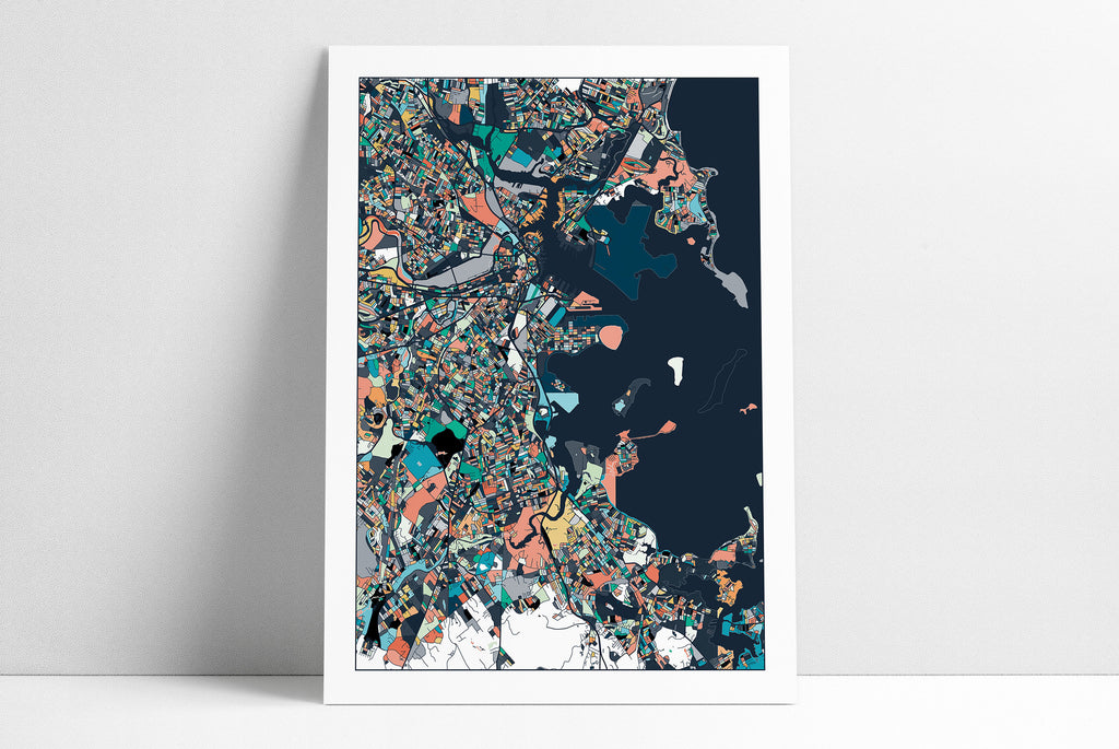 Boston, Travel Map, Boston Print, Unique Art, Boston City Map, Boston Map Poster, Boston Map Print, Boston, Massachusetts, Abstract Art
