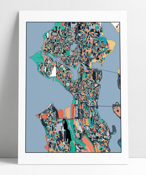 Seattle, Travel Map, Seattle Print, Unique Art, Seattle City Map, Seattle Map Poster, Seattle Map Print, Washington, Abstract Art