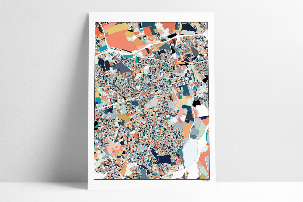 Athens, GA, City Map, 3 Color Options, Georgia, Athens GA Map, UGA, Gift, Map Poster, Athens Map Print, Wall Art, Unique Art, Abstract Art