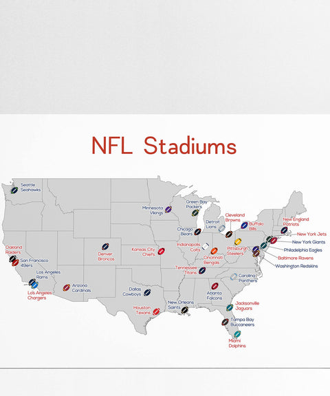 NFL Stadium Map, Football Stadium Map, Man Cave, NFL Stadium Print, Football Poster, Gift for Him, Football Print, Stadium Map, Football Map
